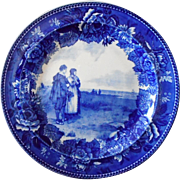 "Wedgwood Flow Blue ""The Return of the Mayflower"" Cabinet Plate"