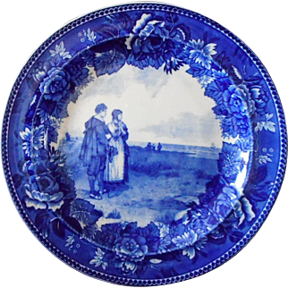 """Wedgwood Flow Blue """"The Return of the Mayflower"""" Cabinet Plate"""
