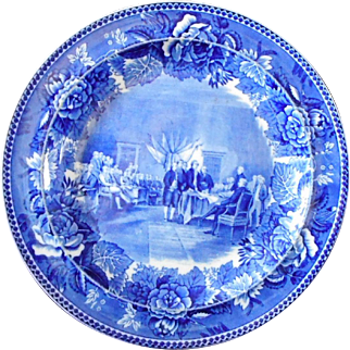 """Wedgwood Flow Blue """"The Signing of the Declaration"""" Cabinet Plate"""