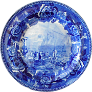 """Wedgwood Flow Blue """"The Boston Tea Party"""" Cabinet Plate"""