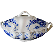 Staffordshire Burgess & Leigh Burslem Daisey Pattern Flow Blue Covered Tureen