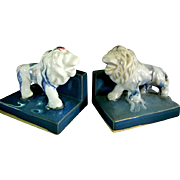 Ceramic Lion Multicolored Bookends