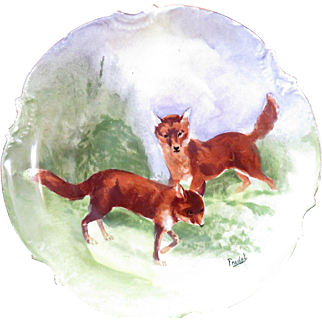 Limoges Hand Painted Cabinet Plate with Foxes