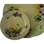 French Handpainted Violets Dessert Plates with Serving Dish Set