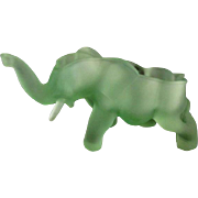 Elephant Green Satin Glass Open Candy Bowl