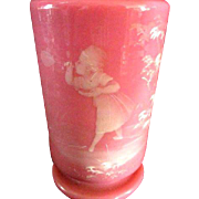 Wonderful Mary Gregory Pink Case Glass Vase