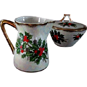 Lovely Porcelain Christmas Creamer and Sugar Bowl Holly Design
