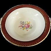 3 Serving Pieces Cronin China Royal Rajah Maroon Pattern