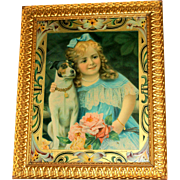 Little Girl with Blue Dress & Ribbon & pet Dog Vintage Print