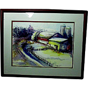 Impressionist Watercolor Farm Scene in Maroon Frame