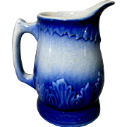 Pretty Blue & White Stoneware Pitcher