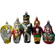 7 Hand Crafted European Glass Christmas Ornaments