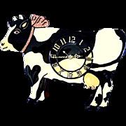 Folk Art Holstein Cow Clock