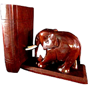 Handcarved Rosewood Elephant Bookends w/ Secret Compartments