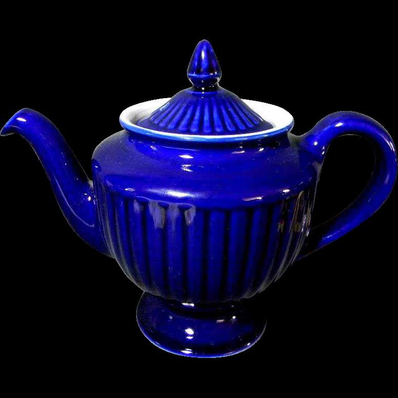 Vintage Cobalt Blue Hall Quot Los Angeles Quot 6 Cup Teapot Tea