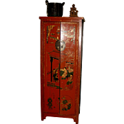 Old Chinese Red-Lacquer Cabinet for Wine Storage