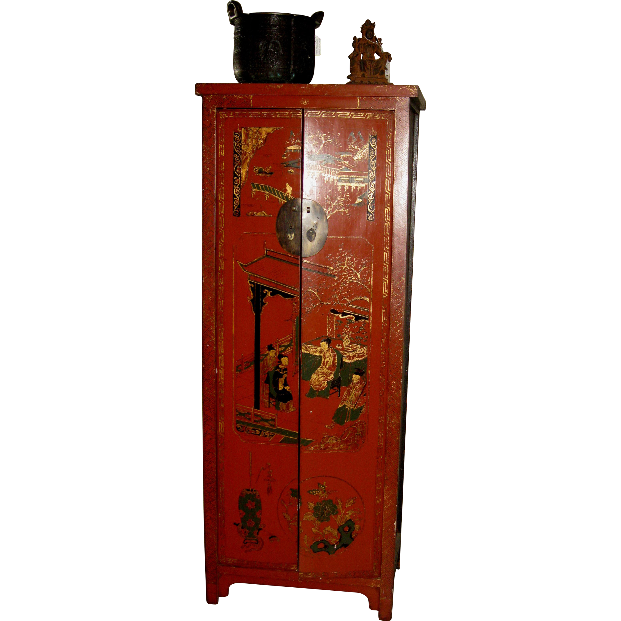 old chinese red lacquer cabinet for wine storage from