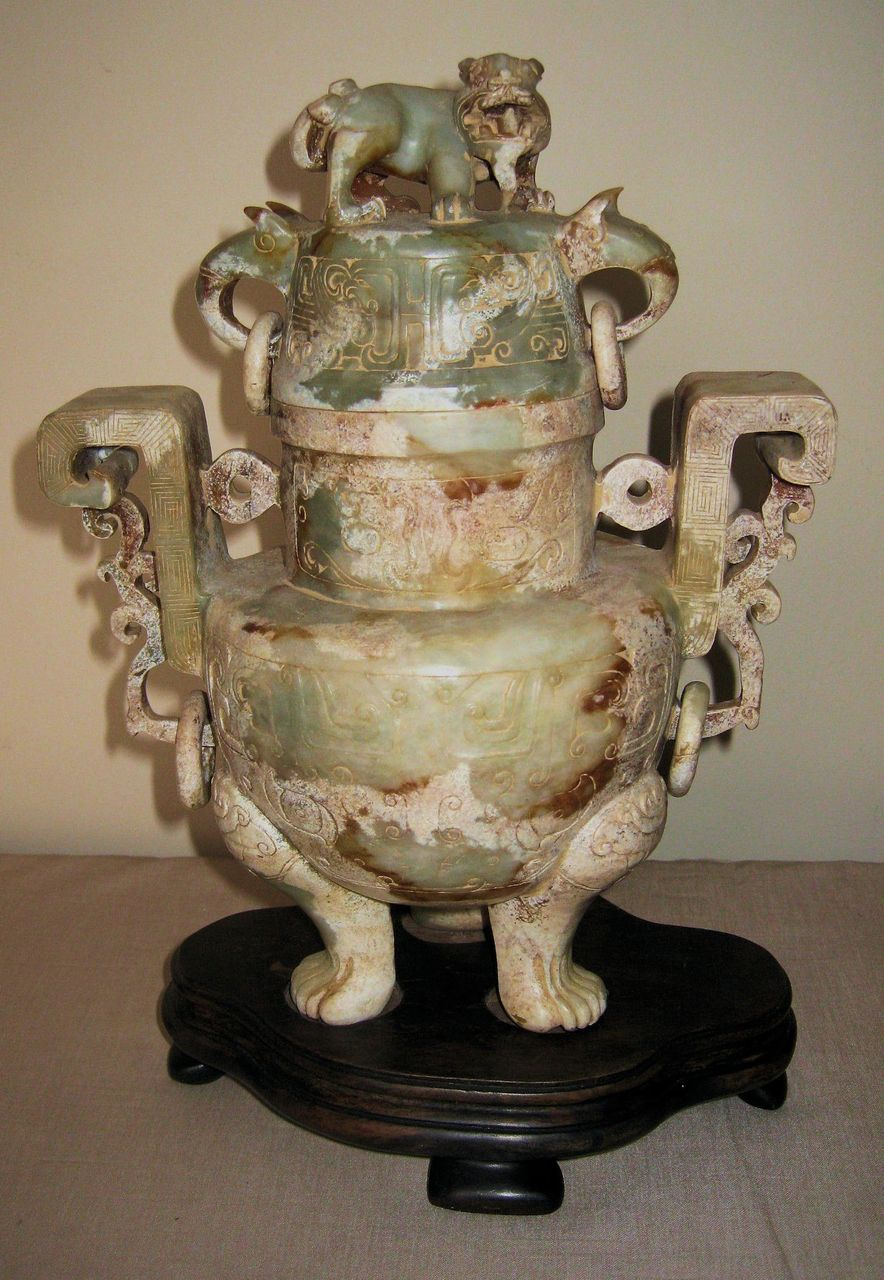 Chinese carved stone tripod incense burner from