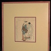 "Woodblock Print ""Man with Fish"""