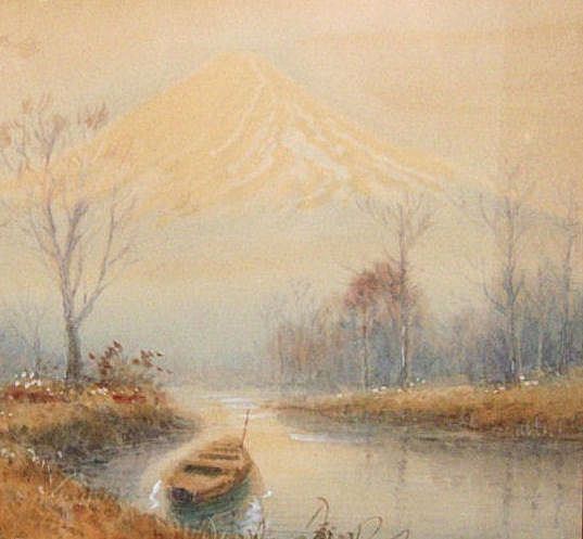 Japanese watercolor painting of a landscape from for Japanese watercolor paintings