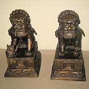 Pair Chinese Bronze Fu Lions