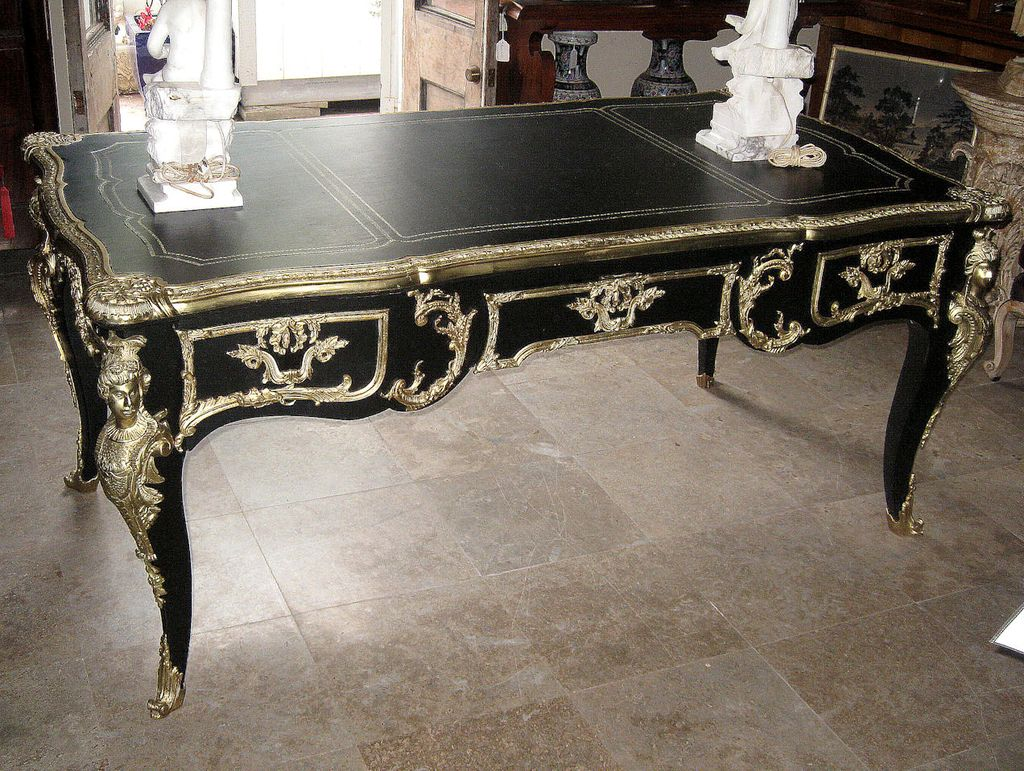 French Style Ormolu-Mounted Black and Gilt Desk - French Style Ormolu-Mounted Black And Gilt Desk From