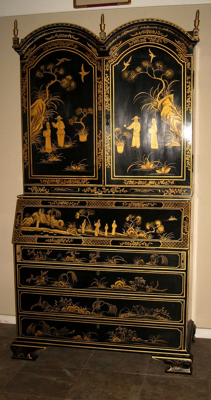 Elegant Black Lacquered Chinoiserie Secretary From