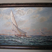 "Oil Painting ""Seascape"" a Sailing Race by M. Wheet"