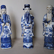"Chinese Blue & White Porcelain set of ""Star Gods"""