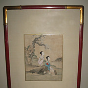 Chinese Antique Genre Watercolor Paintings