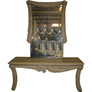 Carved White Wood Accent Table with a Large Mirror