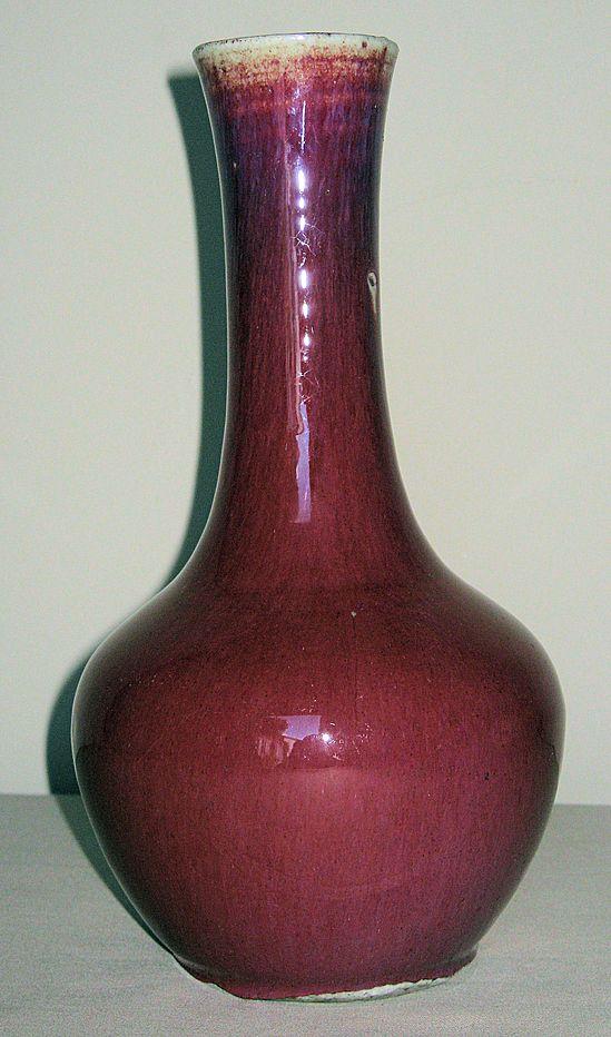 19th C. Chinese Oxblood Flambé Porcelain Vase