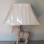 Chinese Unglazed Pottery Horse Lamp