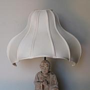 Chinese Seated Wood Lohan Lamp