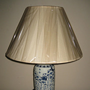 Blue & White Porcelain Lamp with Prefectures of Japan