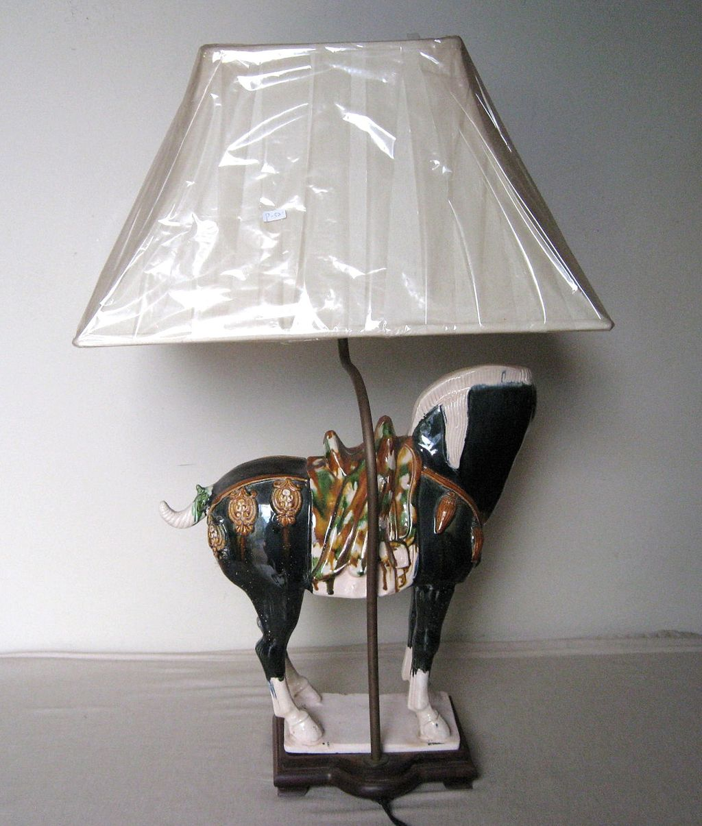 Pottery Barn Horse Bit Lamp: Chinese Sancai Pottery Tang Style Horse Lamp From