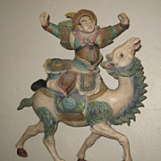 Chinese Vintage Pottery Warrior Roof Tile