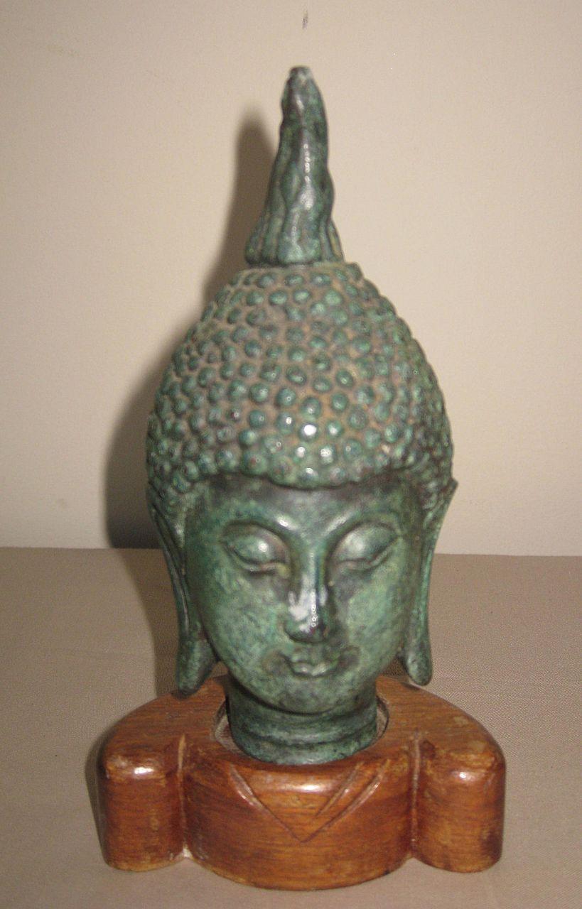Thai Bronze Buddha Head on Wood Base