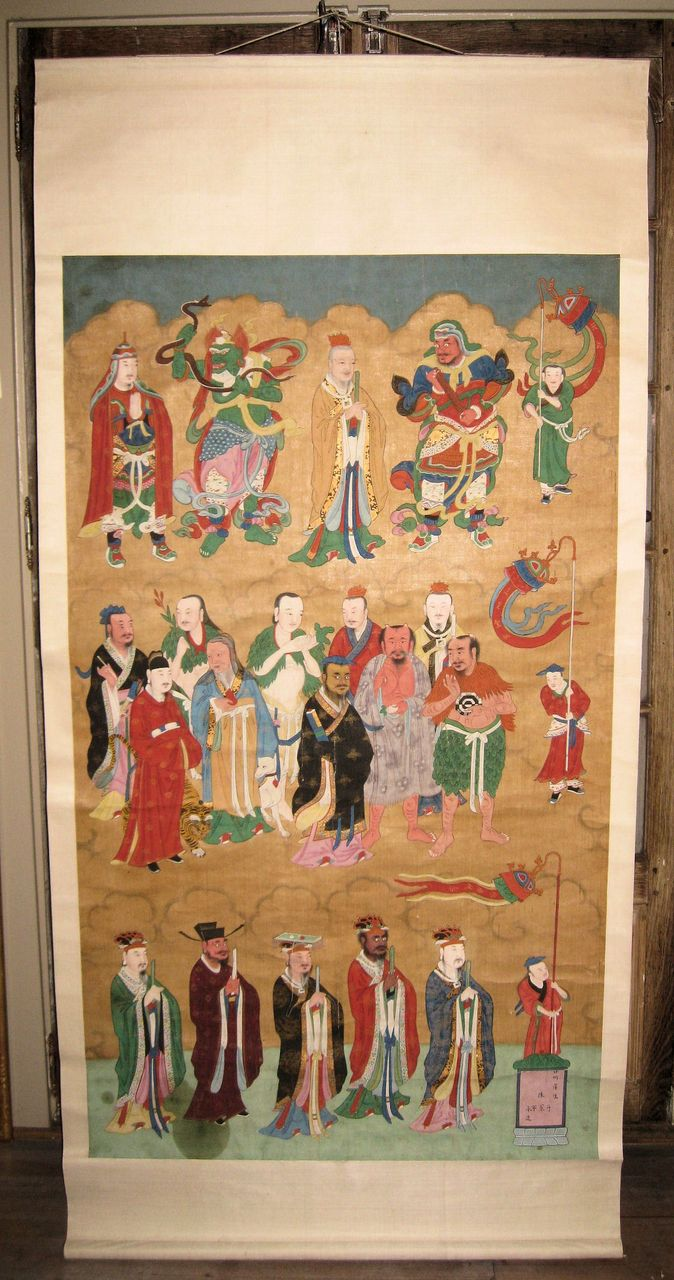 19th C. Chinese Painted Scroll with Dignitaries & Buddhist Deities