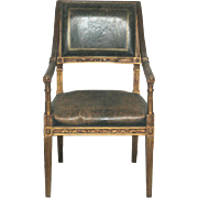 Exquisite 18th Century French Empire Chair with Dark-Green Upholstery