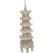 Surperb Chinese Carved Gray Stone 5-Section Temple Pagoda