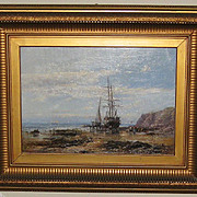 "Oil Painting of a ""Harbor Scene"" by John Syer Jnr"