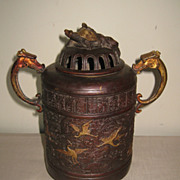 Chinese Bronze Tripod Metal Incense Burner
