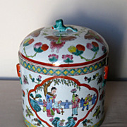 Chinese Porcelain Mandarin Rose Covered Jar