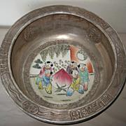 Chinese Silver Glazed Ceramic Planter