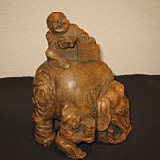 Chinese Carved Bamboo Elephant & Figures