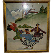 Framed Old Tibetan Folk Art Textile of Dancing Figures