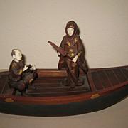 Japanese Meiji Wood Boat & Figures Okimono