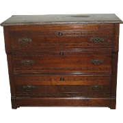 Victorian Chest of Drawers with Gray Marble Top