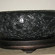 Sensational Large Jade Dragon Bowl - Mid 20th Century